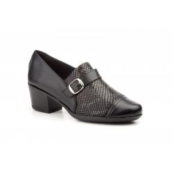 Zapatos Mujer Piel Negro Licra