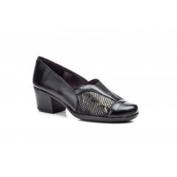 Zapato Mujer Piel Negro Licra