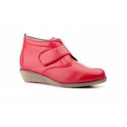 Botín Mujer Piel Rojo Velcros