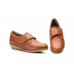 Zapato Mujer Piel Cuero Velcro