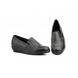 Zapatos Mujer Piel Negro Cuña
